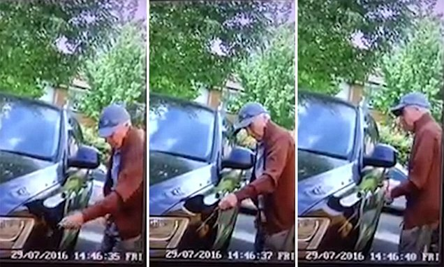 CCTV video of a baseball-cap wearing pensioner deliberately keying an Audi in Kent