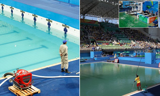 Rio Olympic chiefs will drain diving pool as it continues to turn green
