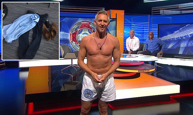 Gary Lineker presents Match of the Day in his underwear after Leicester City bet
