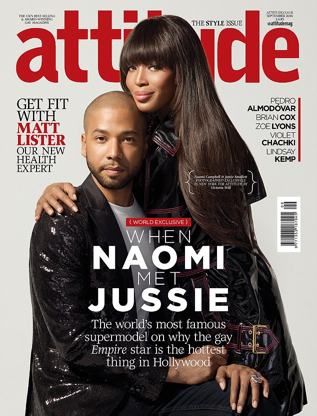'Without gay men, I would't be where I am today': Naomi Campbell, 46, celebrated her Empire co-star Jussie Smollett sexuality as they both graced the cover of UK's Attitude magazine