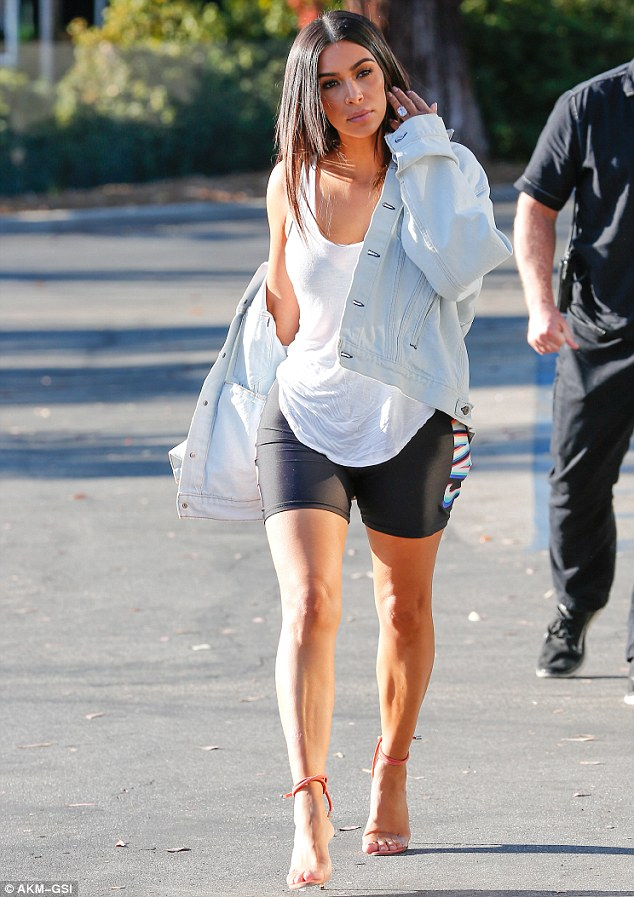 Upstaged by sis?Kim Kardashian West, was also spotted arriving to set on Friday. The 35-year-old mom-of-two made a fashion statement of her own in a sheer tank top