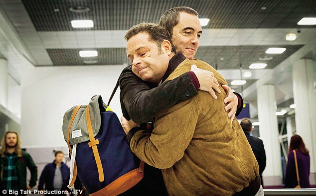 James Thomson (right) and Nesbitt embrace as they reprise their roles as Pete and Adam in the new series