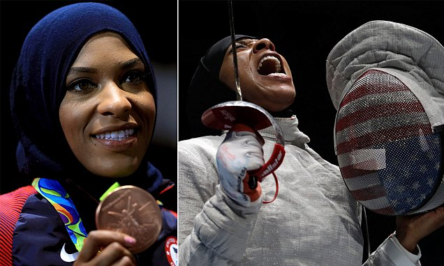 First US Olympian to wear a hijab Ibtihaj Muhammad wins bronze in the women's sabre event
