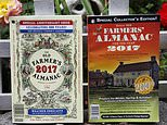 This Aug. 12, 2016 photo shows the 2017 editions of New Hampshire's Old Farmer's Almanac, left, and Maine's Farmers' Almanac photographed in Concord, N.H. The two publications, which will be released soon, are both celebrating milestones. Maine's 200 edition, and New Hampshire's 225.(AP Photo/Jim Cole)