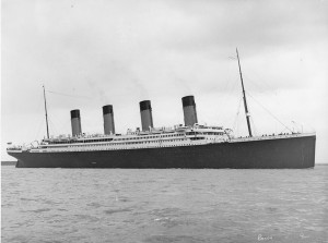 Black & white photograph of titanic in Southampton Water.