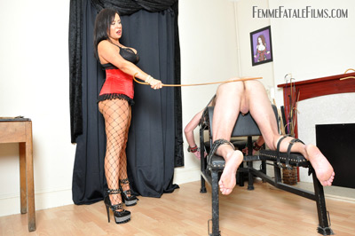 Mistress Real's hard caning on slave
