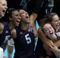 Members of the the United States team celebrate after defeating the Netherlands during a women's bronze medal volleyball match at the 2016 Summer Olympics in Rio de Janeiro, Brazil, Saturday, Aug. 20, 2016. The United States won 3-1. (AP Photo/Jeff Roberson)