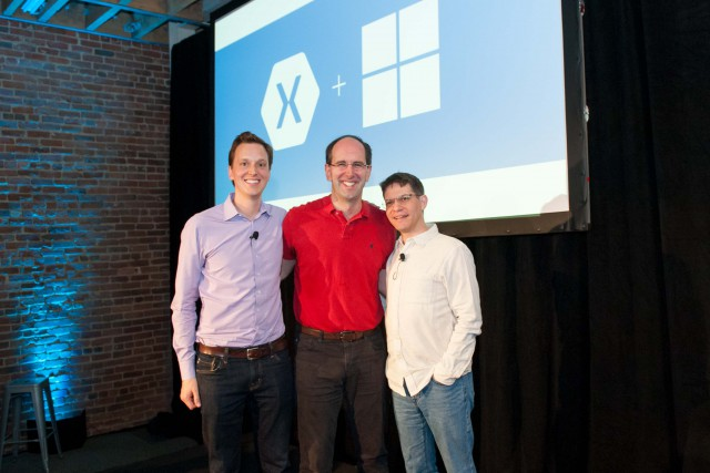 Pictured left to right: Nat Friedman, CEO and co-founder of Xamarin; Scott Guthrie, executive vice president of the Microsoft Cloud and Enterprise Group; and Miguel de Icaza, CTO and co-founder of Xamarin.