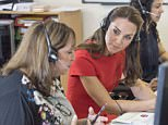 The Duchess of Cambridge (centre) listens in to real calls during a visit to YoungMinds in London, a helpline service run by one of the eight charity partners of their Heads Together mental health campaign. PRESS ASSOCIATION Photo. Picture date: Thursday August 25, 2016. See PA story ROYAL Cambridge. Photo credit should read: Arthur Edwards/The Sun/PA Wire