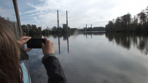 Riders on Saturday's boat tour were offered up-close views of Duke Energy's Sutton Plant, defined by two tall red-and-white smokestacks. Two smaller stacks beside them indicate the plant's transition from coal to natural gas. Photos by Jonathan Spiers.