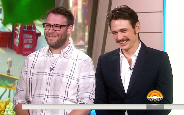 Getting into his part: James Franco rocked his seventies look that he's been sporting for HBO show The Deuce as he promoted comedy Sausage Party with co-star Seth Rogen on the Today show on Thursday