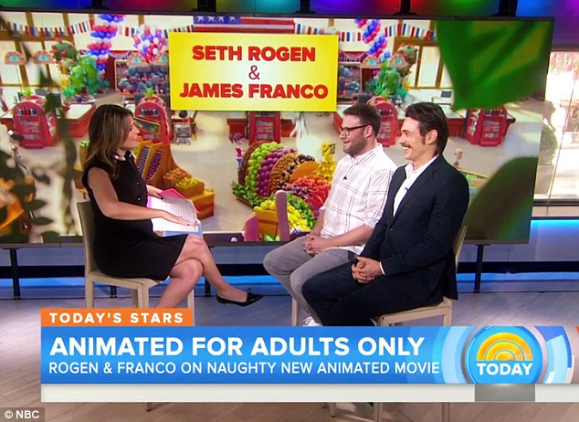 Ton of fun: James and his 34-year-old pal played off each other's jokes as  Franco, who voiced Druggie 'one of the only humans in the film,' called it, 'the best movie ever made'