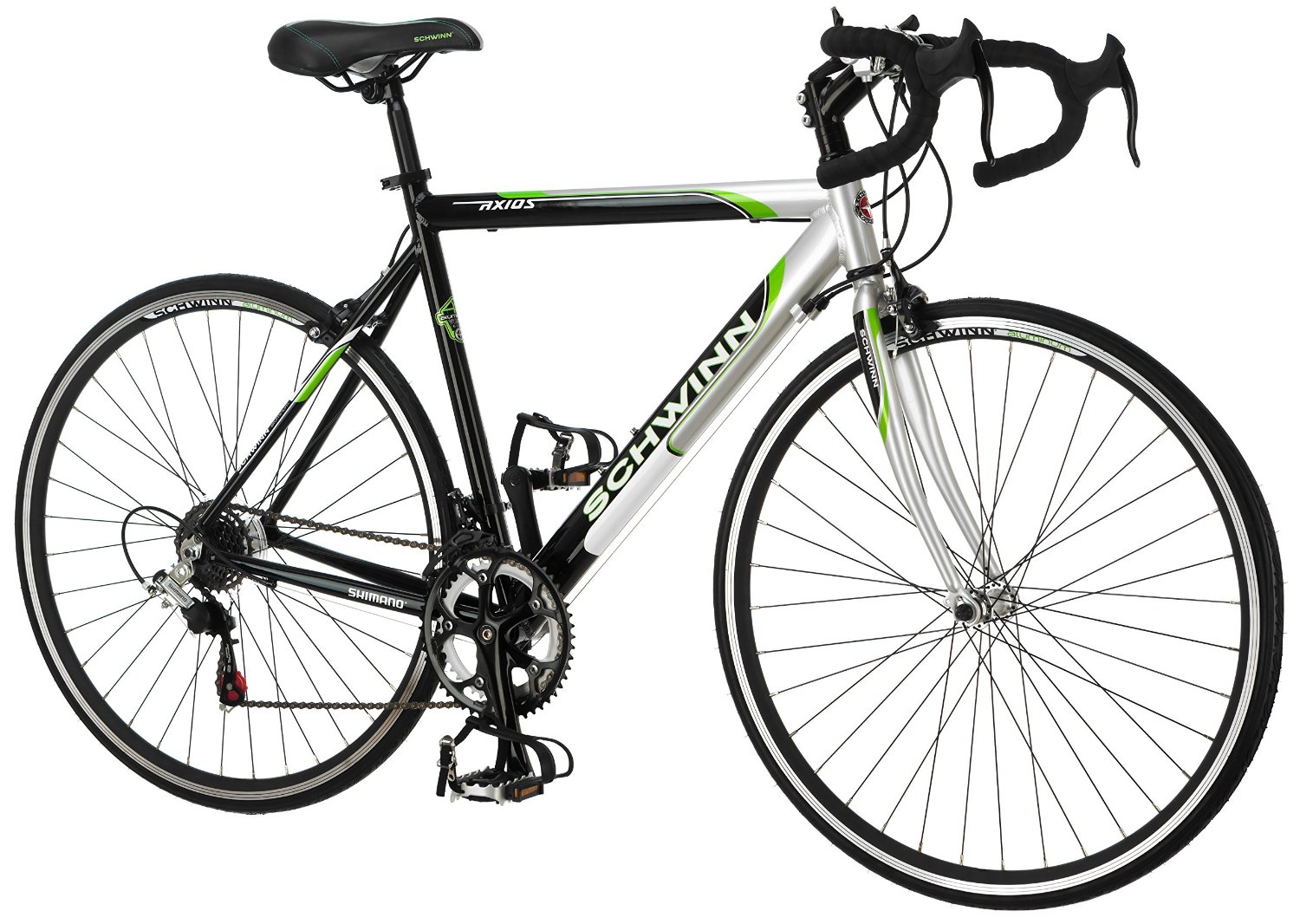 Schwinn Men's Axios 700c Drop Bar Road Bicycle, Silver/Black/Green, 21.5-Inch Frame/55CM