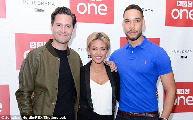 A handsome pair:Michelle was beaming as she walked the red carpet in her suit while sandwiched between her two co-star pals, with Ben going casual in a bomber jacket