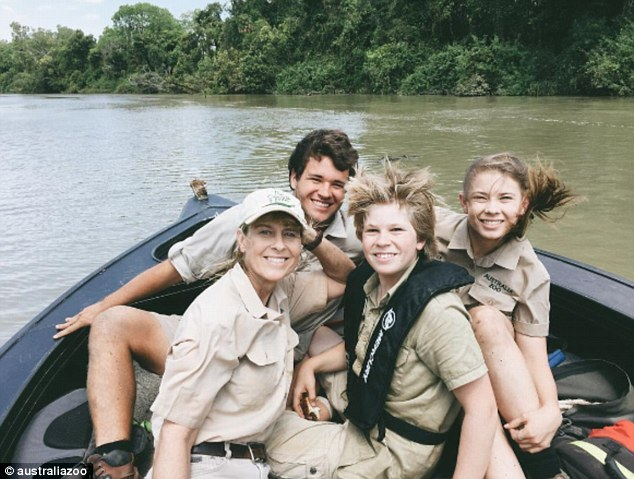 Legacy: Bindi Irwin (R) seems to be well-and-truly following in her late father's footsteps, and recently visited the Steve Irwin Wildlife Reserve on Cape York Peninsula, Queensland  with (R-L) her younger brother Robert, mother Terri, and boyfriend Chandler