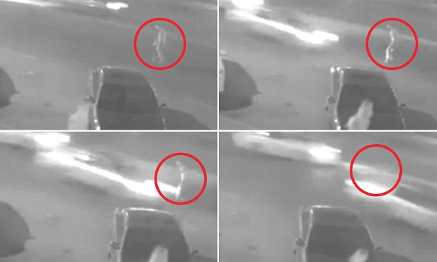 Horrific moment a man with one leg is mowed down by a speeding driver in the middle of the