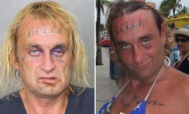 His mugshot will make you 'Holla!': Man with distinctive forehead tattoo arrested for the