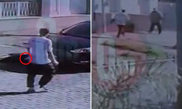 Horrific moment a man savagely stabs four people repeatedly with a 'gigantic' butcher's