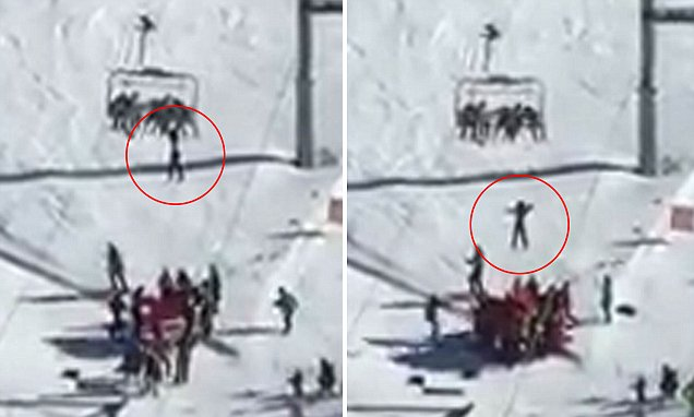 Dramatic moment that a New Zealand boy is left dangling from a chairlift as his parents