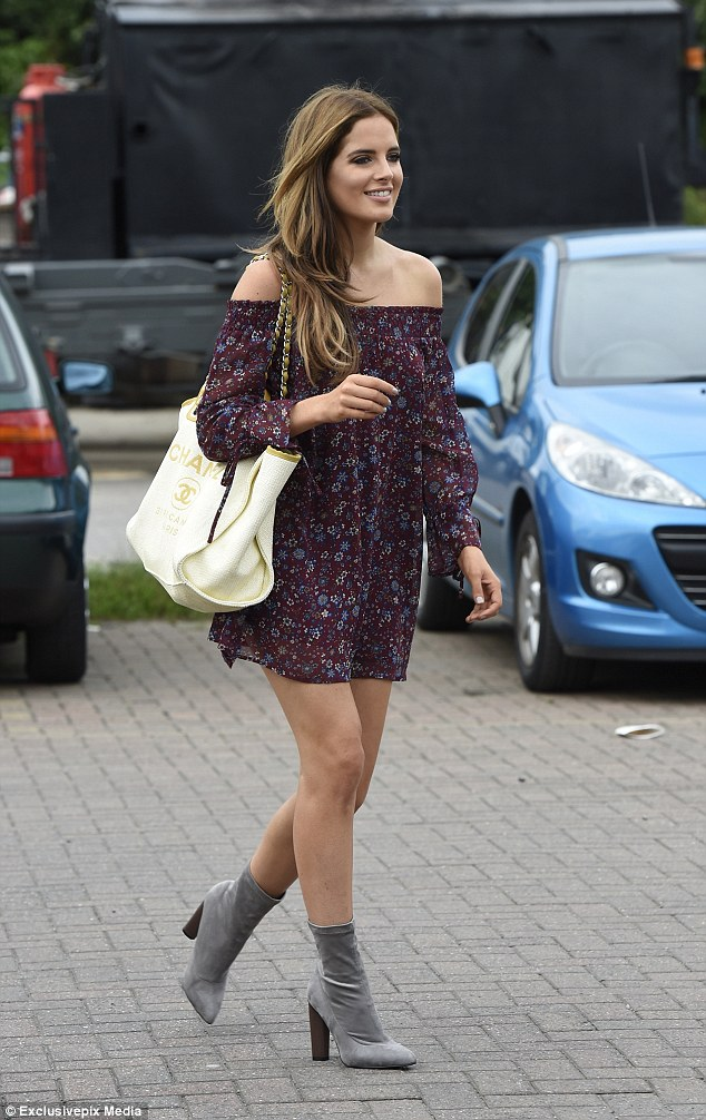 Model: The Made in Chelsea star, 26, turned heads in bardot floral mini dress that showcased her svelte physique
