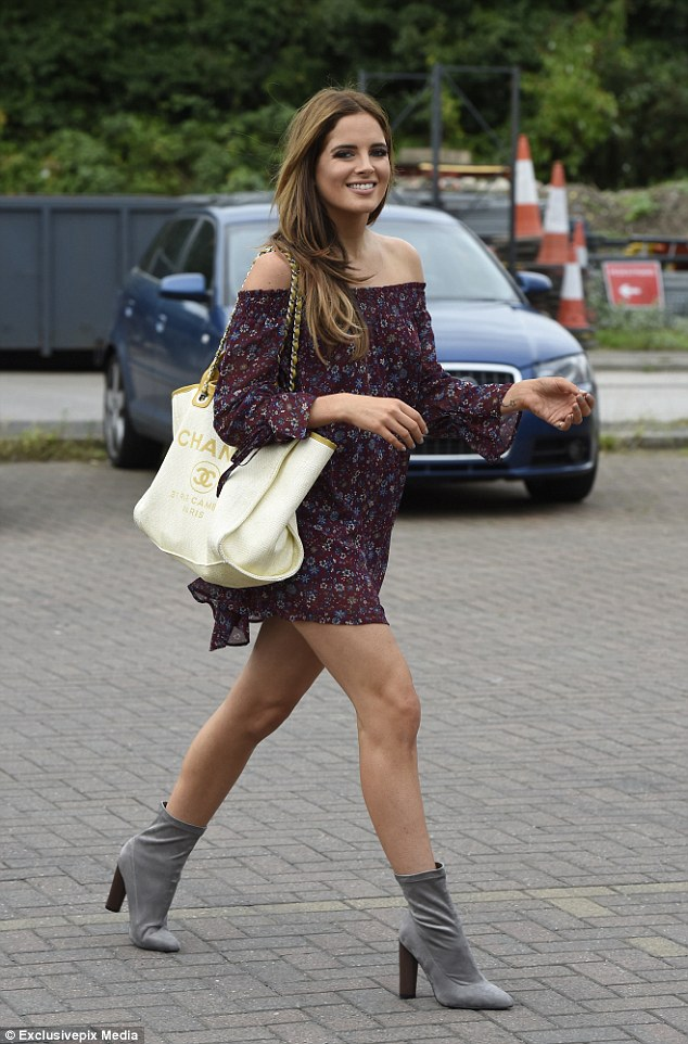 Beauty: Reality star Binky Felstead was in Manchester on Thursday, modelling for her In The Style fashion range