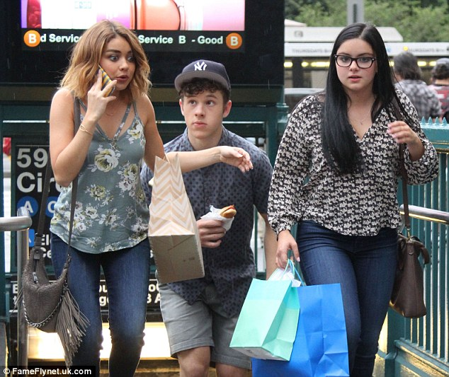 Bi-coastal: Last week, Hyland, left, was seen filming scenes for her ABC sitcom in NYC with co-stars Nolan Gould and Ariel Winter