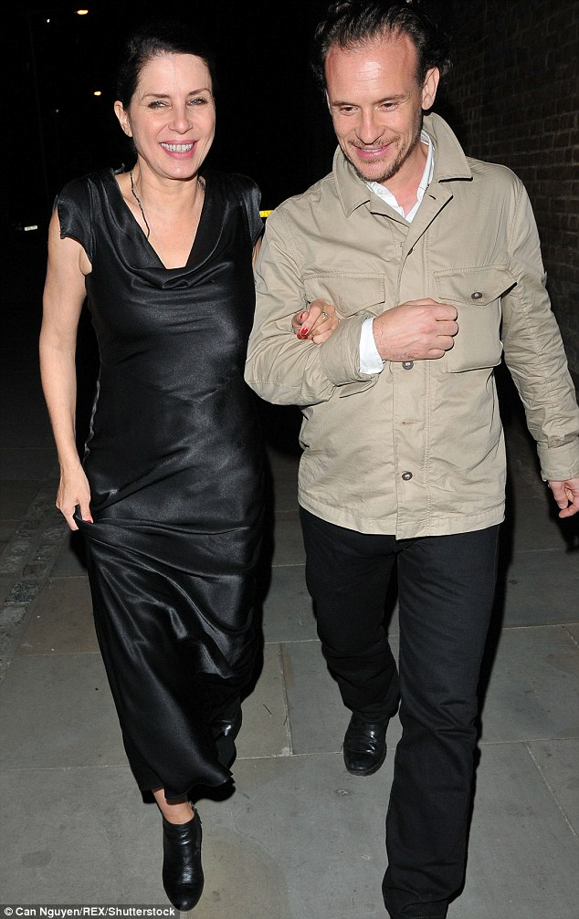 No Frosty atmosphere here: Pal Sadie Frost was also seen strolling arm-in-arm to the evening's later festivities with a close friend