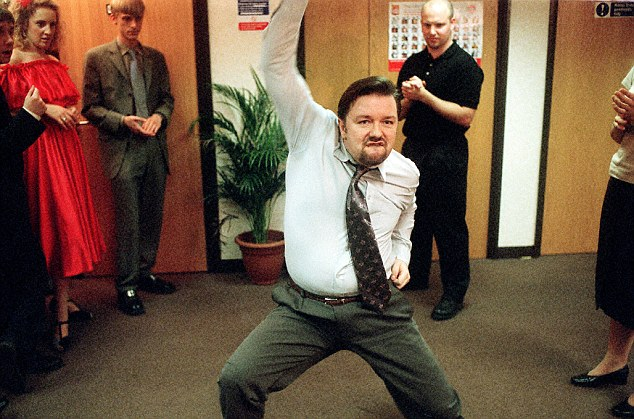 Gervais hilariously danced at a party in The Office television series broadcast by the BBC