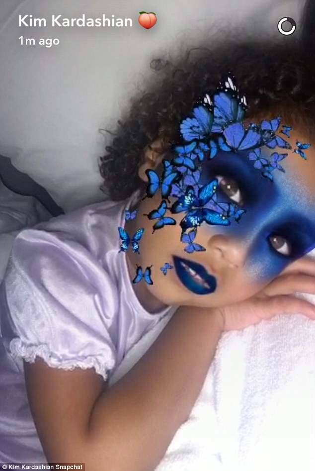 Adorable: North struck some more poses as she tried out a few of the filters on her own