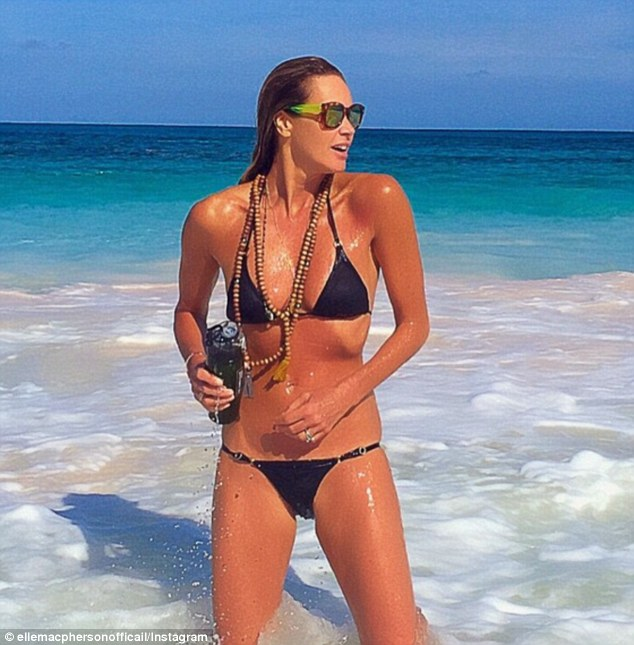 Trim and tone: The famous model also credits her sculptured body to the elixir diet