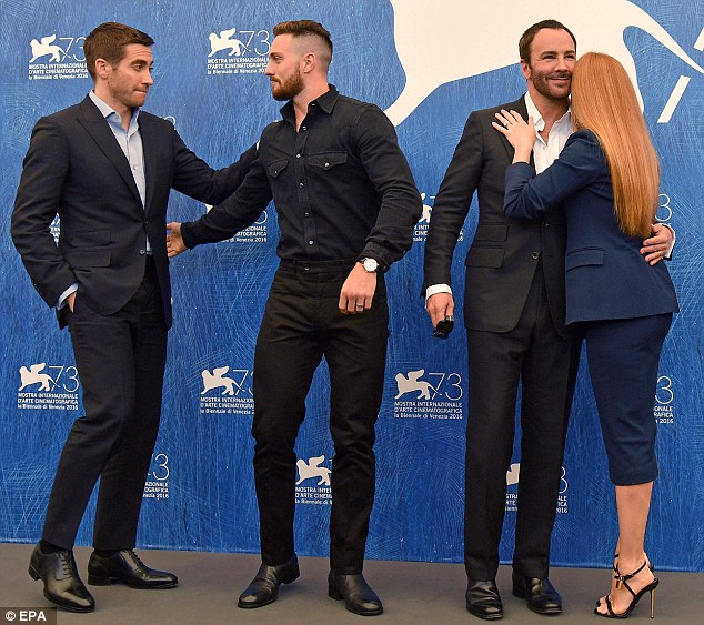 Colleagues: Amy was joined by (l-r) Jake Gyllenhaal, Aaron Taylor-Johnson and Tom Ford