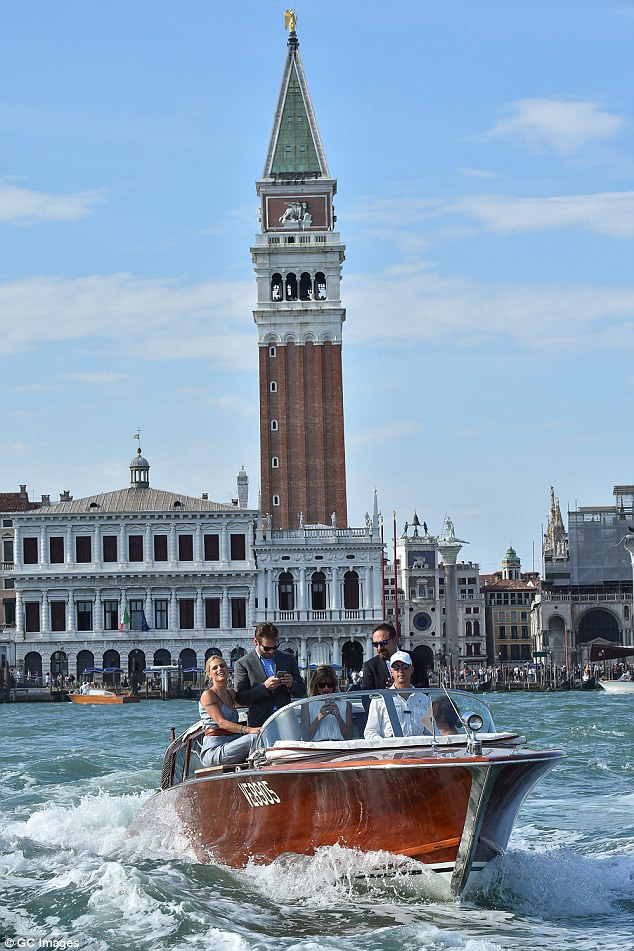 Also in town:Michelle Hunziker, Tomaso Trussardi and Gaia Trussardi arrived by water taxi too