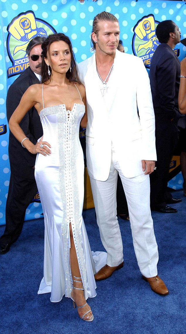 All white on the night: David and Victoria were known to be fans of coordinating looks