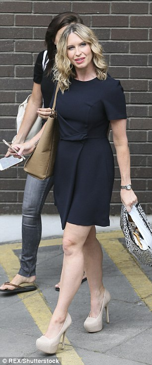 TV ready: Brooke dressed in a chic black dress and platform heels for her TV appearance while Louisa was in jeans and a tee