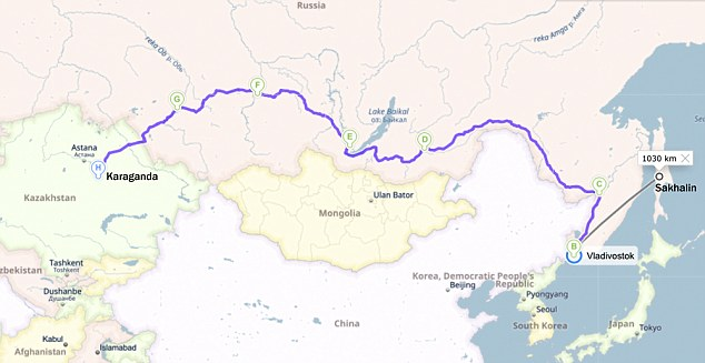 Map showing the route where Katya's Korean ancestors were deported from the island of Sakhalin to Kazhakstan, a journey of 4,900 miles