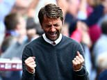 BIRMINGHAM, ENGLAND - AUGUST 29:  Tim Sherwood Manager of Aston Villa celebrates a goal during the Barclays Premier League match between Aston Villa and Sunderland at Villa Park on August 29, 2015 in Birmingham, England.  (Photo by Jordan Mansfield/Getty Images)