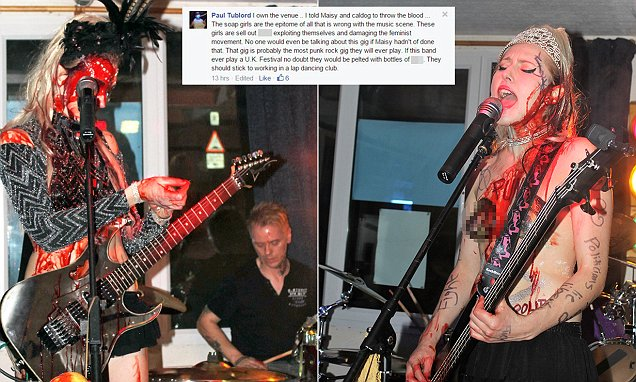 Punk rock duo The Soap Girls are branded 'sl*ts' and have fake blood thrown on them at gig