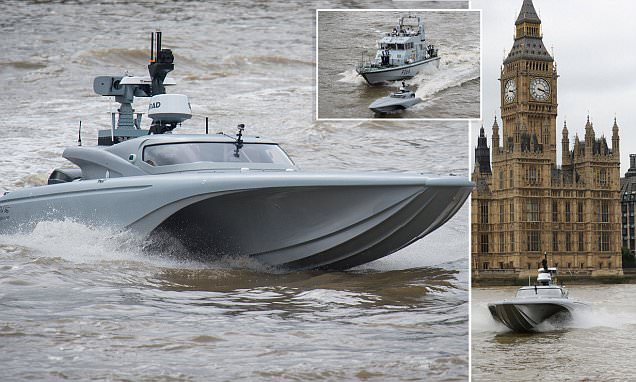 Royal Navy test unmanned drone on the River Thames