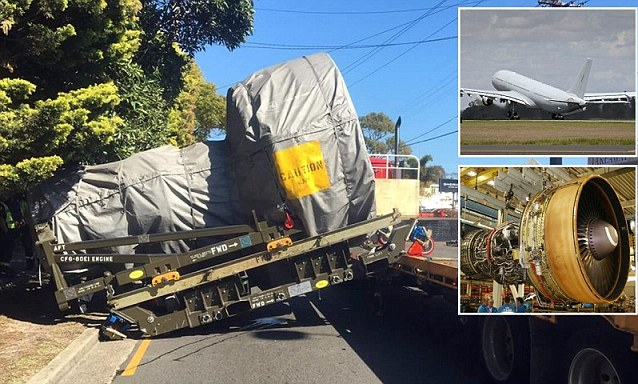 Aircraft engine falls from a heavy-vehicle trailer in Sydney causing traffic chaos