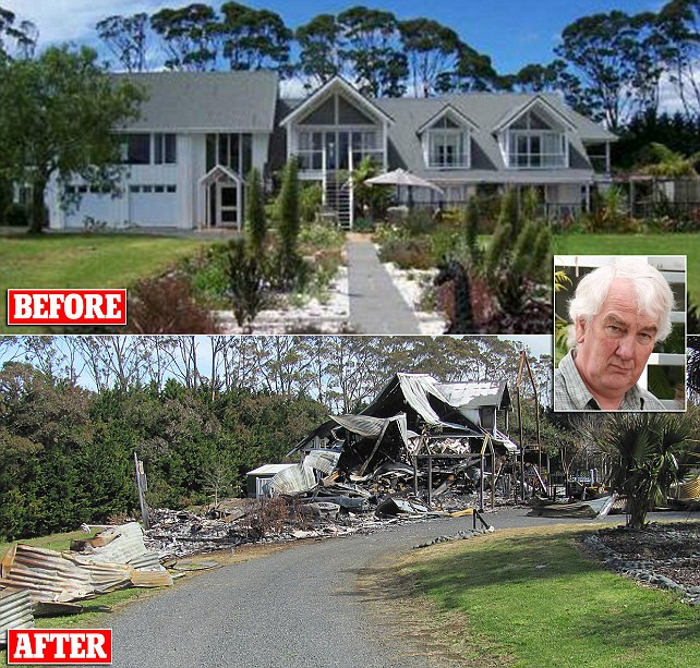 Briton 'burned down New Zealand villa from 260 miles away after booby-trapping  printer'