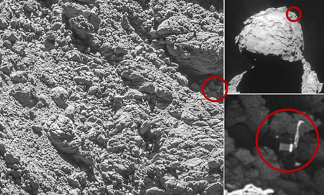 Rosetta's lost lander is spotted on comet 67P just weeks before probe's suicide mission