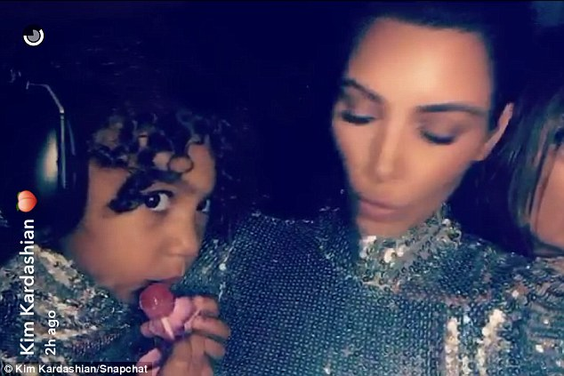 Shimmering: Kim and North looked cute in their matching ensebles