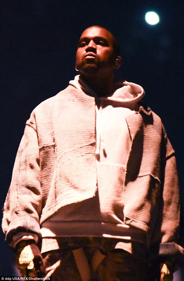 He's ready: Kanye looked in the zone ahead of his show