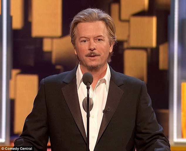 Taking aim: Jimmy Carr, Pete Davidson, Nikki Glaser, Jewel, Ralph Macchio, Peyton Manning, Rob Riggle, Ann Coulter and Jeff Ross made up the motley crew of abusers who took turn taking to the stage to burn Lowe - and each other - while David Spade served as host
