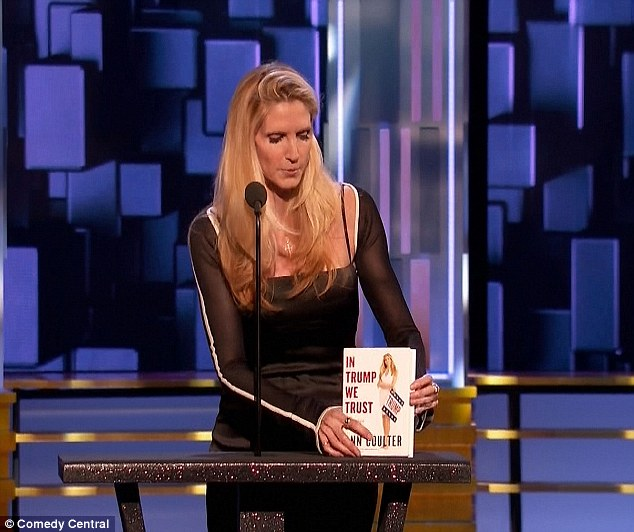 Shameless: Half-joking she was only there to promote her book In Trump We Trust - which she took out and placed in front of her - the political commentator faced the impossible task of winning over the hostile audience.
