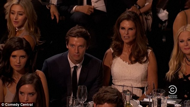 Cold: The camera panned across the silent audience as most of her gags fell excruciatingly flat - with maria Shriver and Patrick Schwarzenegger looking particularly unimpressed