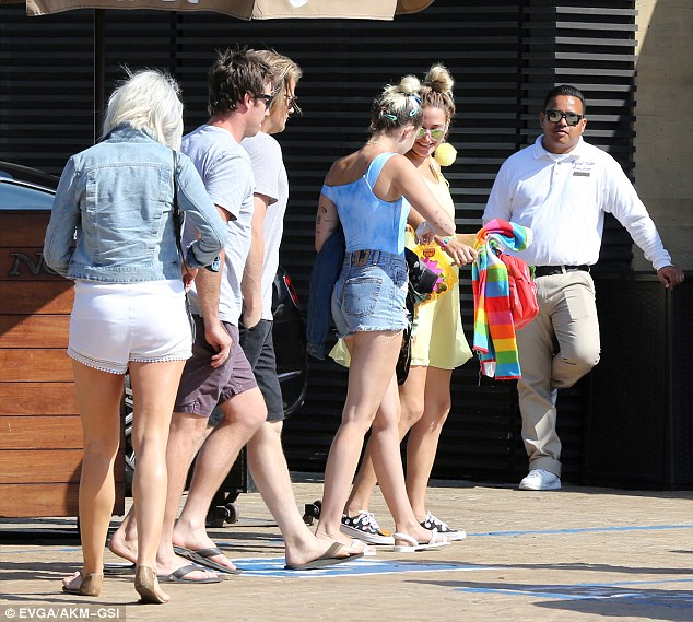 Social gathering: Miley and Liam were joined by a small group of friends
