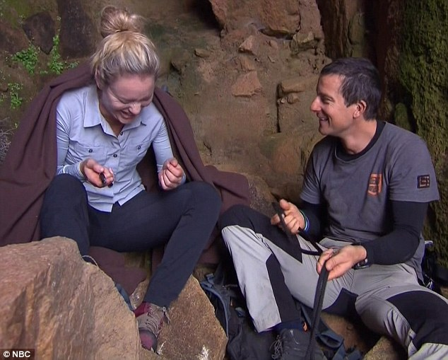 Tickled by the Bear: But the action man's hilarious one-liners soon cheered her up