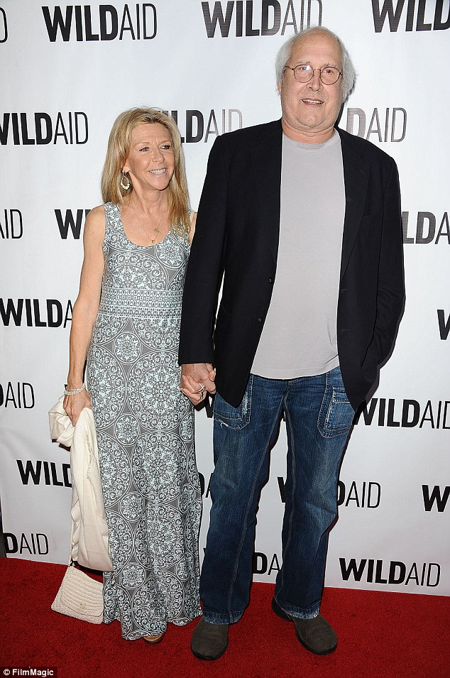Happily married: Chevy with his third and current wife Jayni in Beverly Hills in November