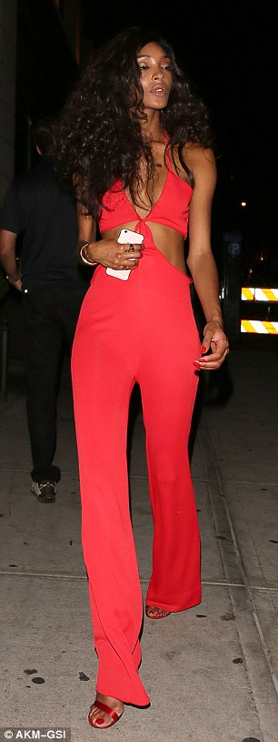 That'll get you noticed:And as an array of celebrity guests helped Beyonce celebrate, Jourdan ensured she stood out in a flame red jumpsuit comprised of busty bralet and flared trousers